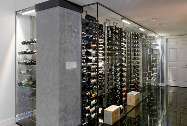 Dave Fox Design And Wine Racks America Converted What Was A Small Closet Into Beautiful Glass Enclosed Cellar Using Floor To Ceiling Frames