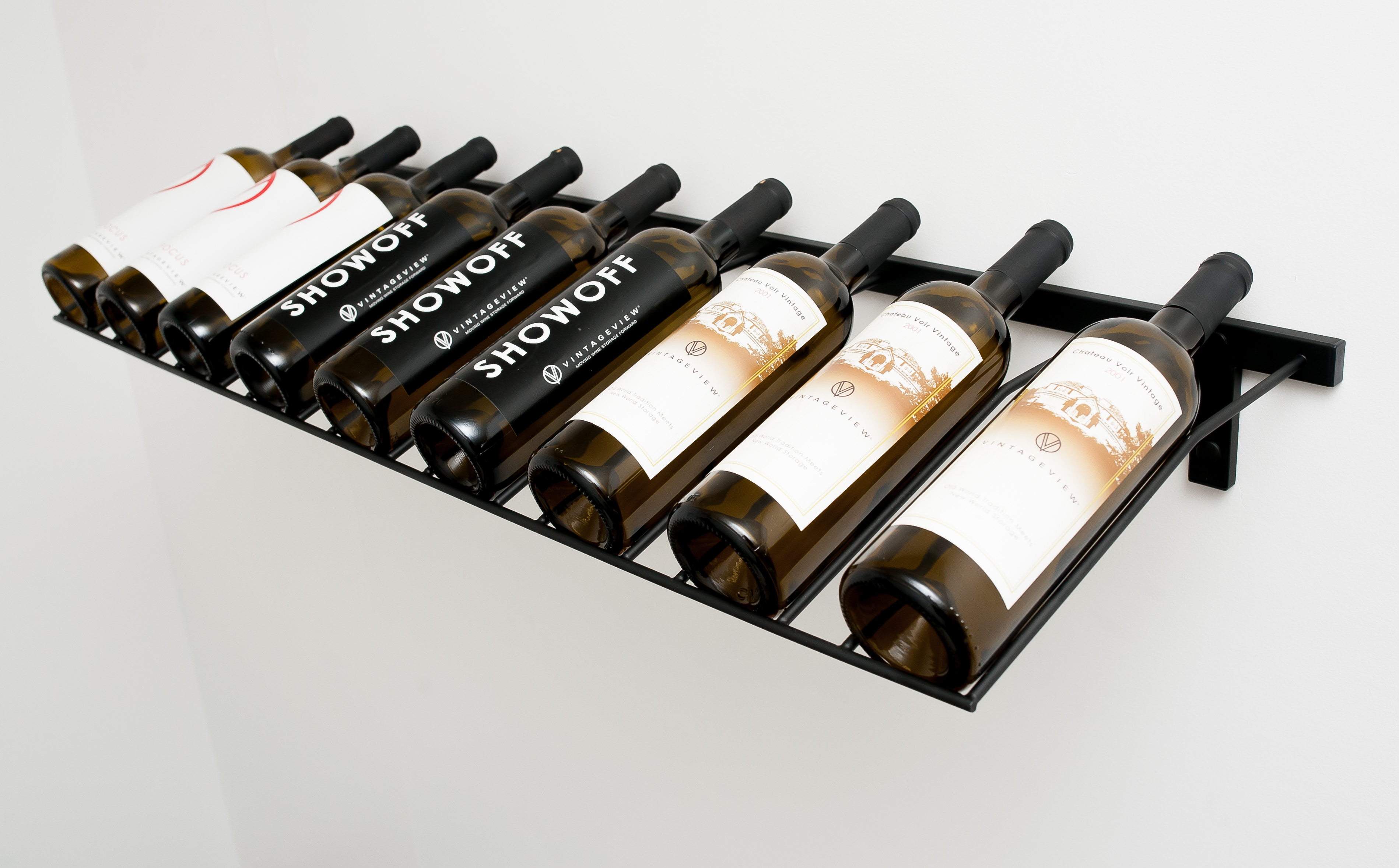 Metal Wine Racks Wall Mounted presentation row metal wine rack (3 to 9 bottles) - vintageview