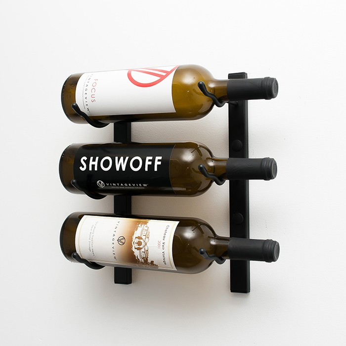 Brushed Nickel 24 Bottle Wall Mounted Wine Bottle Rack Stylish Modern Wine Storage with Label Forward Design VintageView Wall Series