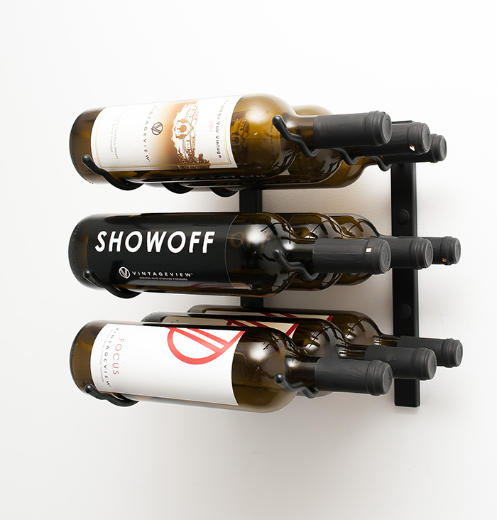 1 ft wall series triple deep 9 bottle metal wine rack in satin