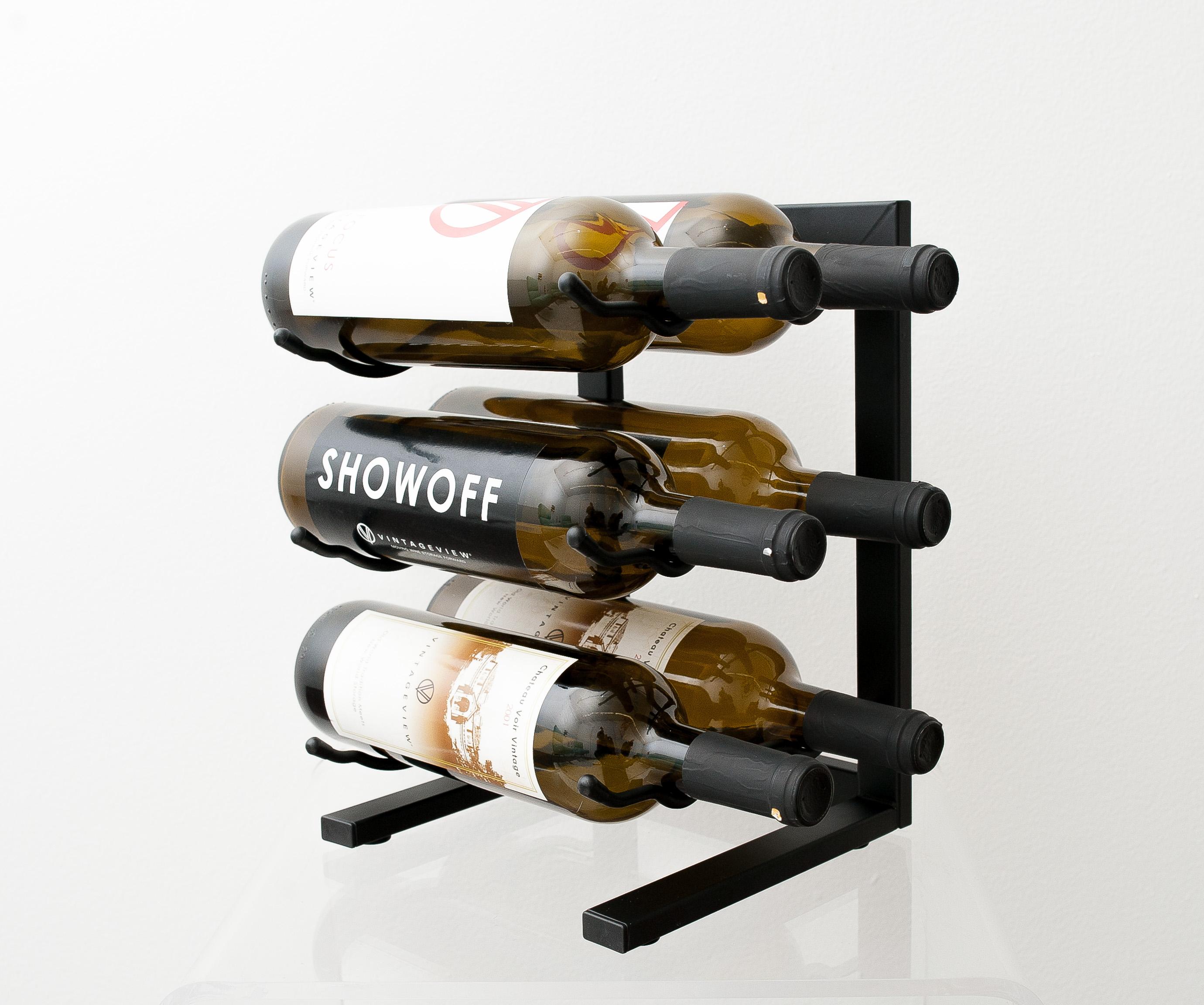 Mini 6 Bottle Tabletop Metal Wine Rack Vintageview