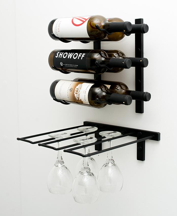 Metal Stemware Rack With Wall Series 12 Wine In Satin Black