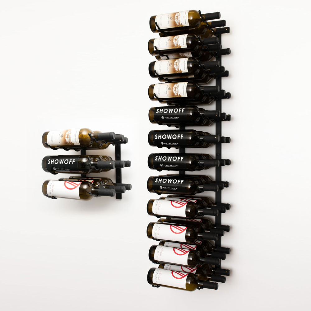 W Series 5 Wall Mounted Metal Wine Rack Kit 15 To 45 Bottles Vintageview