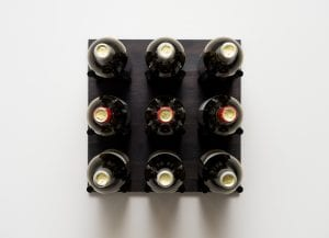 Grain: Midnight Black / Rod: Black ... Grain & Rod Metal and Wood 9 Bottle Wine Rack Board