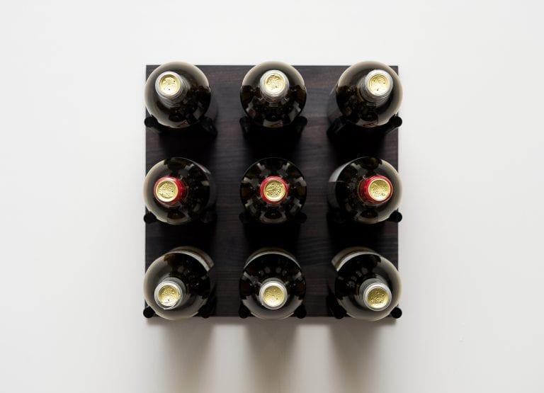 Grain: Midnight Black / Rod: Black ... Grain & Rod Metal and Wood 9 Bottle Wine Rack Board