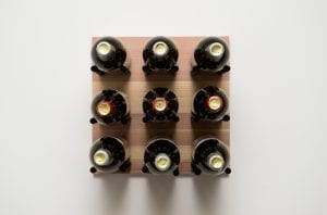 Grain: Natural / Rod: Black ... Grain & Rod Metal and Wood 9 Bottle Wine Rack Board