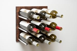 Grain: Dark Walnut / Rod: Silver ... Grain & Rod Metal and Wood 9 Bottle Wine Rack Board