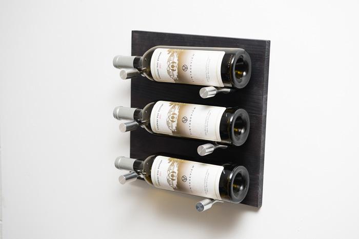Grain & Rod Metal and Wood 3 Bottle Wine Rack Board