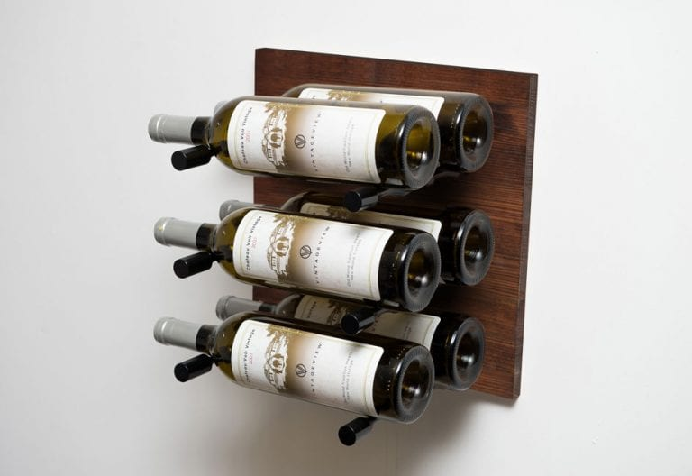 Grain + Rod wood and metal wine wall panel (6 bottles, Dark Walnut/Black finishes)