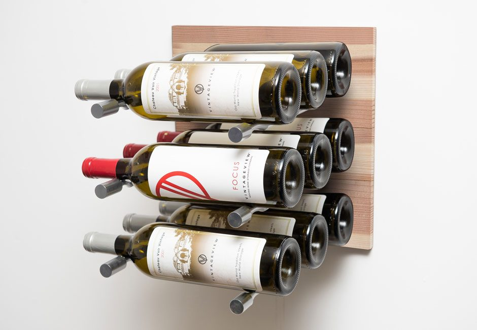 L  Style (Label Forward) Wine Wall Panel In Natural Wood Finish (3 9  Bottles)