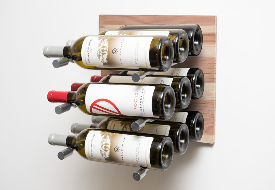 Grain + Rod wood and metal wine wall panel (9 bottles, Natural/Silver finishes)