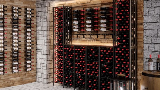 Case & Crate Lockers (tall configuration) with Wall Series wine racks
