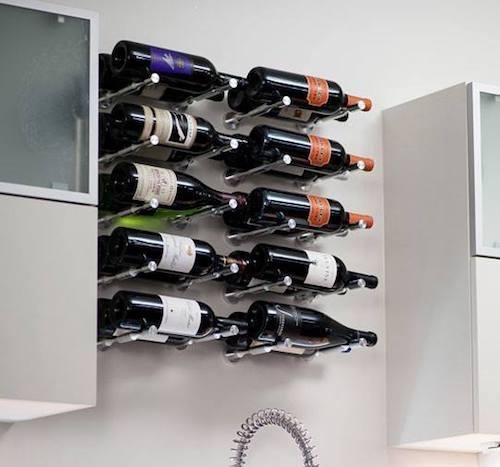 Vino Pins wine racks in drywall