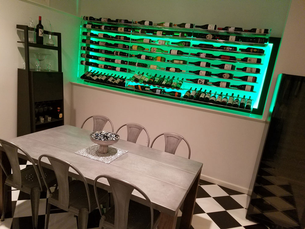 Custom Metal and Acrylic Wine Wall Connecticut
