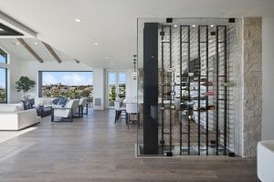 Cooled Glass Wine Cellar in Newport Beach