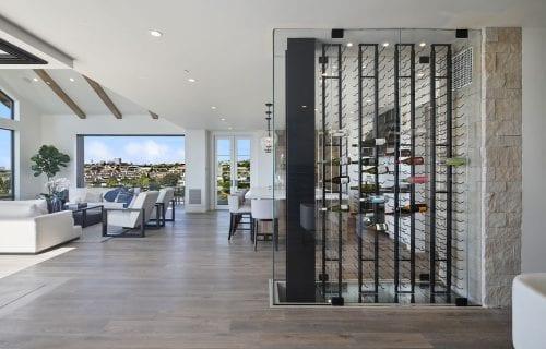 Cooled Glass Wine Cellar in Newport Beach
