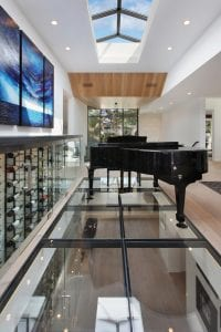 Piano and Skylight Wine Wall