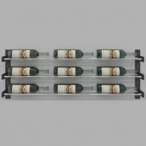 "Evolution Series Wine Wall 15"", 9-Bottle Wine Rack with Chrome Wine Rods"