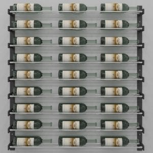 """Evolution Series Wine Wall 45"""", 27-Bottle Wine Rack with Chrome Wine Rods"""