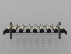 Evolution Series Wine Wall Presentation Row 9-bottle Wine Rack with Satin Black Rods