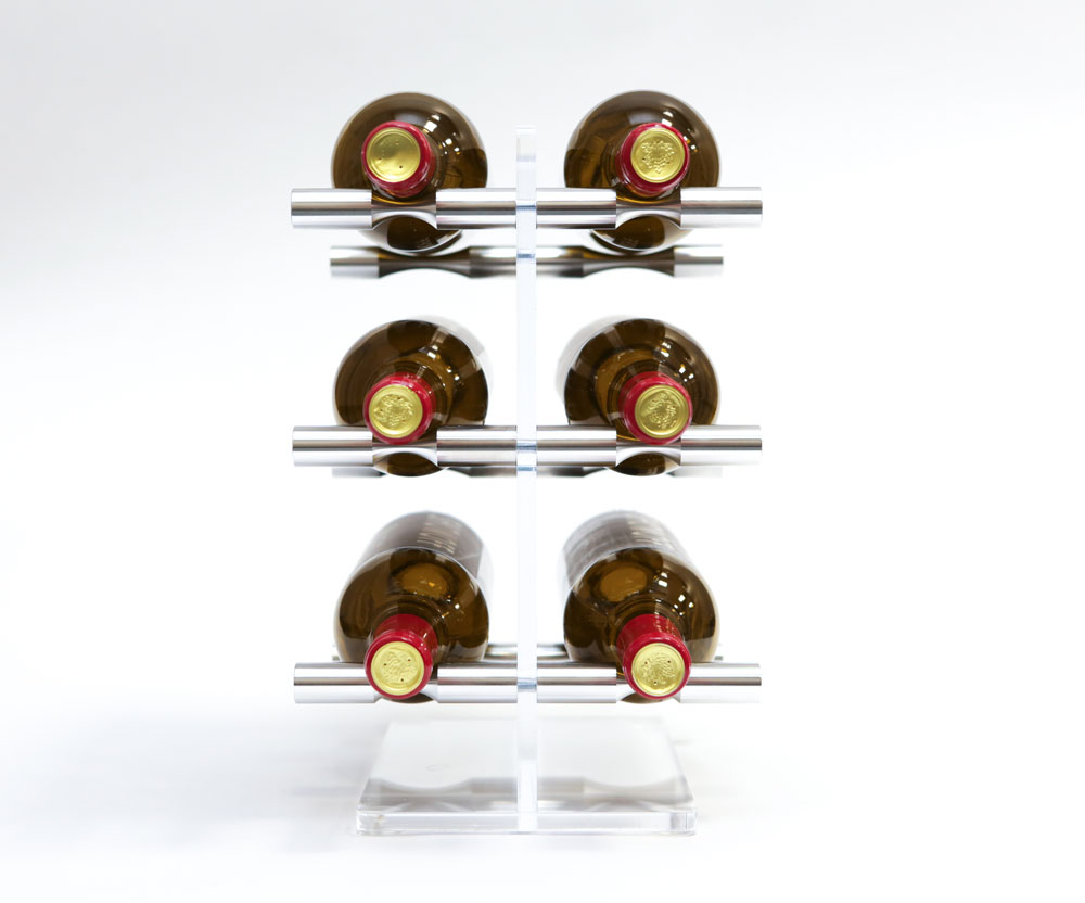 VintageView Mini Acrylic Tabletop Wine Rack with Silver Aluminum Pins